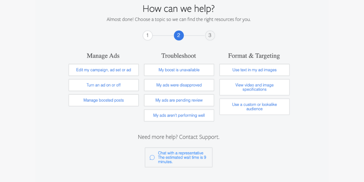 Chat Support Step 1