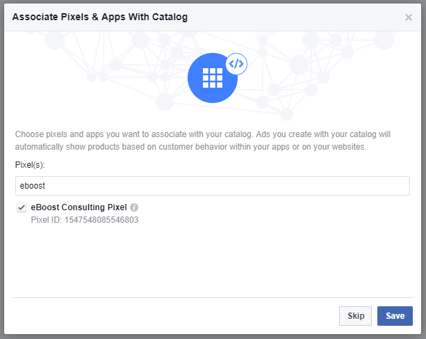 Associate Facebook Pixel with Product Catalog