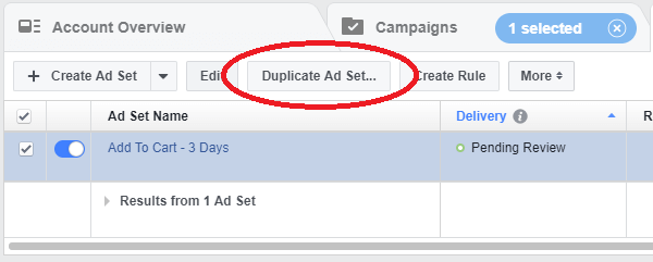 Duplicate Ad Set Facebook Ads