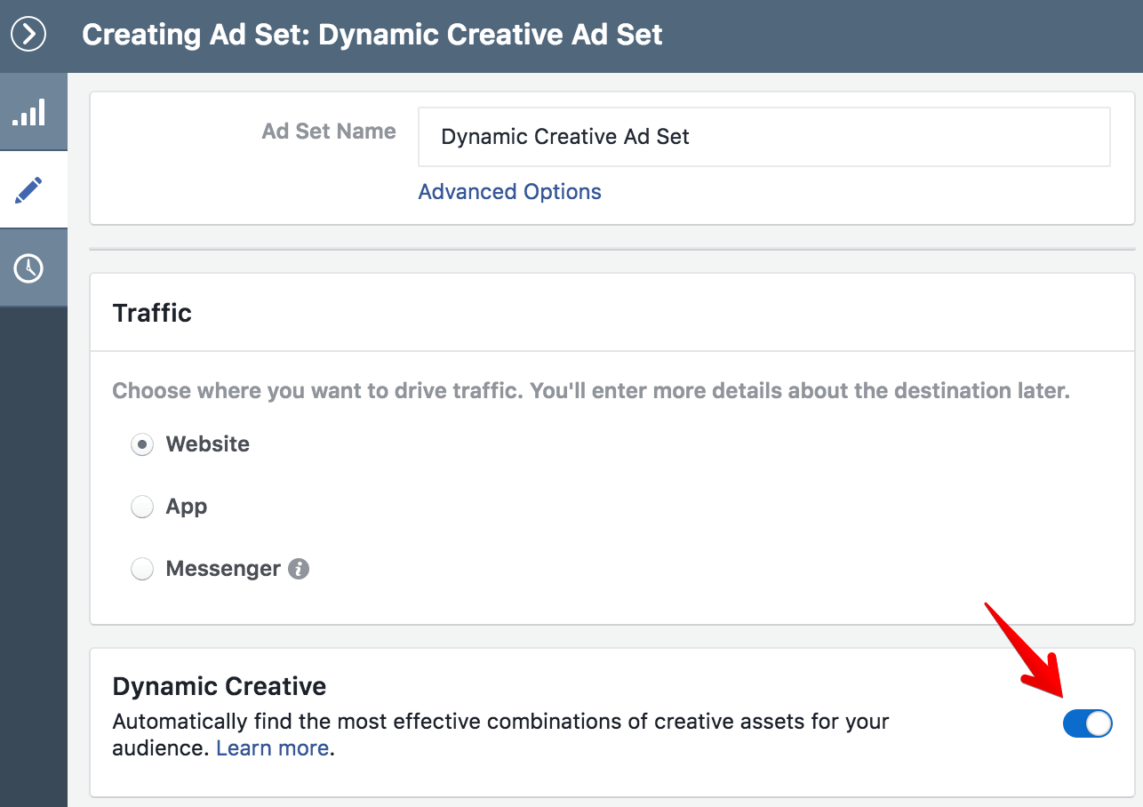 Facebook Dynamic Creative Ad Set