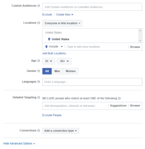 Facebook Dynamic Ads Advanced Targeting Options