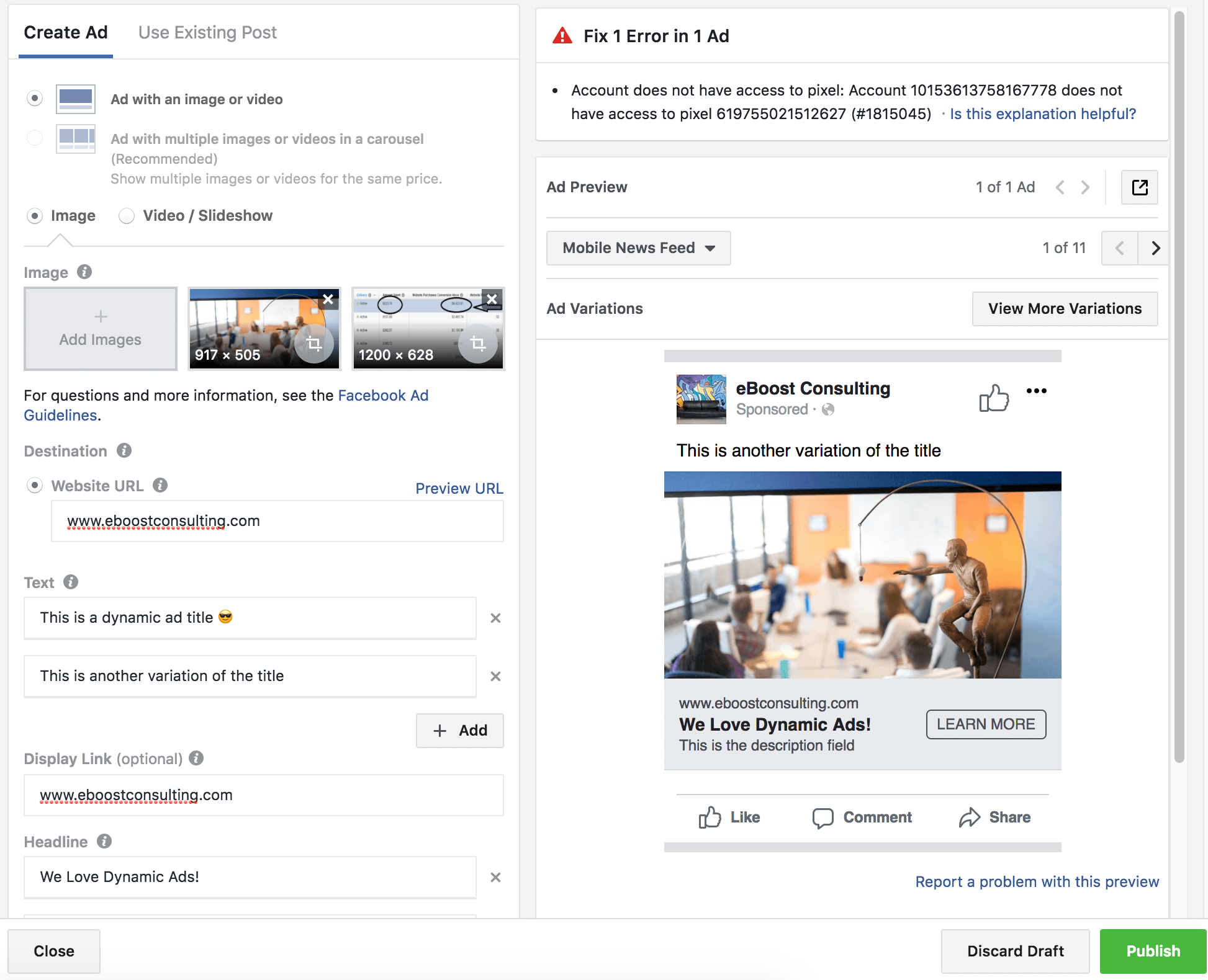 Facebook Dynamic Creative Setup
