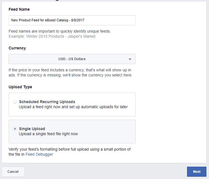Facebook Feed Single Upload