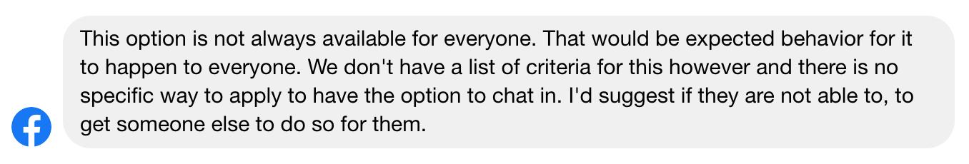 Facebook Live Chat Criteria
