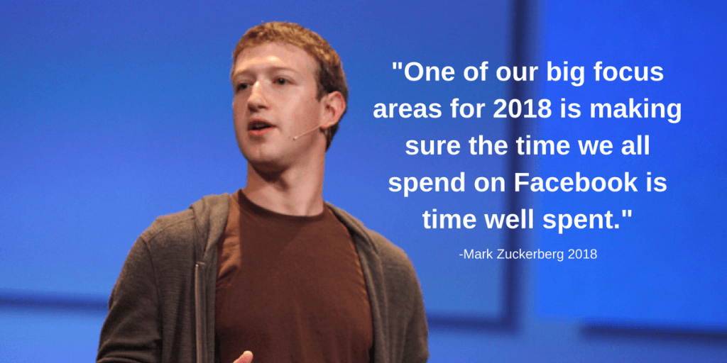"""One of our big focus areas for 2018 is making sure the time we all spend on Facebook is time well spent."" Mark Zuckerberg, 2018"