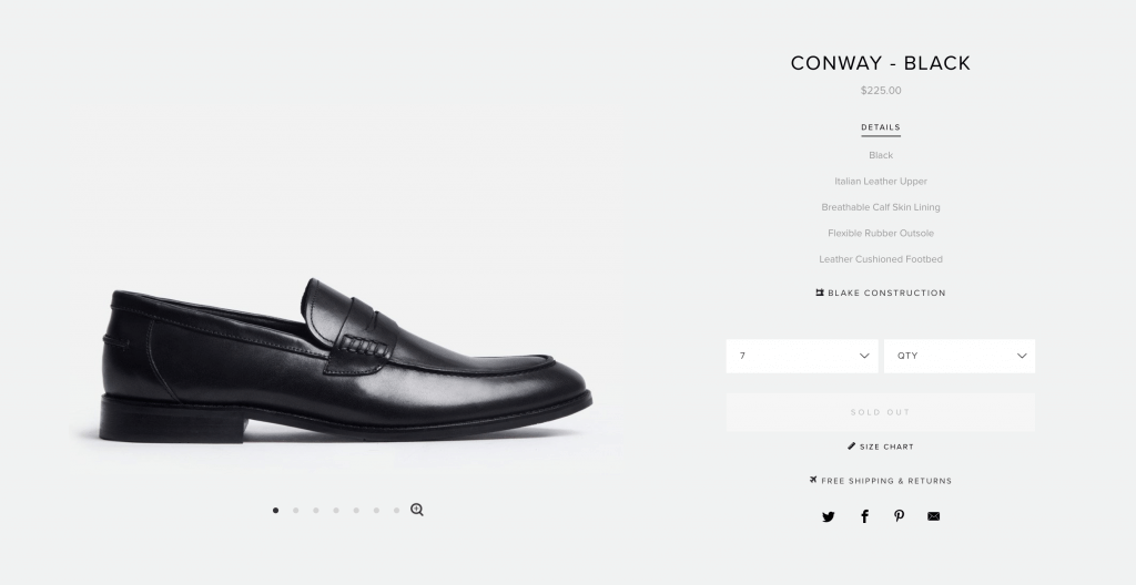 clean product page example